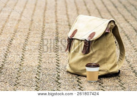 Paper coffee cup or disposable cup and  backpack on sidewalk in the garden nature. Concept drink coffee for leisure and lifestyle. With copy space for your text and logo. stock photo