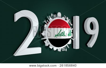 Circle with industry relative silhouettes. Objects located around the circle. Industrial design background. Flag of the Iraq. 3D rendering. 2019 year number stock photo