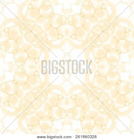 Yellow seamless pattern. Appealing delicate soap bubbles. Lace hand drawn textile ornament. Kaleidoscope mandala lingerie print. Sightly abstract watercolor background. stock photo