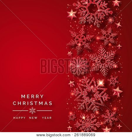 Christmas Background With Shining Red Snowflakes And Snow. Merry Christmas Card Illustration On Red