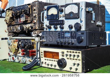 Old radio engineering devices. Scale with arrow, transceiver, measuring instruments stock photo
