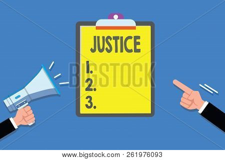 Text sign showing Justice. Conceptual photo Quality of being just impartial or fair Administration of law rules stock photo