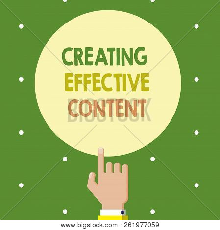 Text sign showing Creating Effective Content. Conceptual photo Valuable Information Informative User Friendly stock photo
