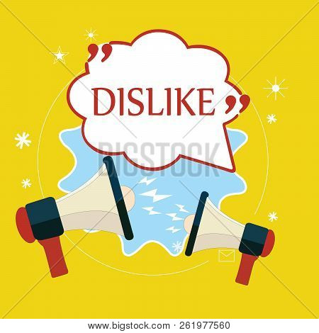 Word writing text Dislike. Business concept for Not like someone something Unlike Disapprove Disappointed Reject stock photo