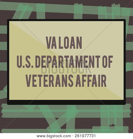 Writing note showing Va Loan U.S Departament Of Veterans Affairs. Business photo showcasing Armed forces financial aid stock photo