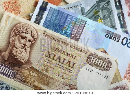 Greek Drachma Banknotes And Euro Notes