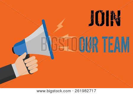Conceptual hand writing showing Join Our Team. Business photo text Allied Associate Work with us New Employee Hired Enlist Man holding loudspeaker orange background message speaking loud. stock photo