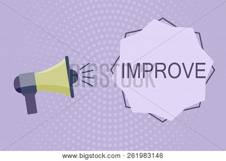 Writing note showing Improve. Business photo showcasing Make become better Development increase capacities Grow Change stock photo