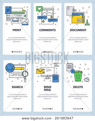 Vector web site linear art onboarding screens template. Printer, computer and internet icons. Menu banners for website and mobile app development. Modern design flat illustration. stock photo