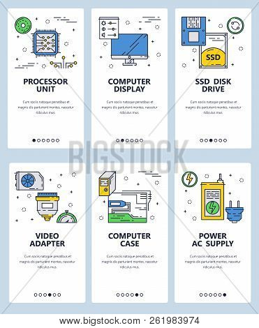 Vector web site linear art onboarding screens template. Chip, hardware and computer parts. Menu banners for website and mobile app development. Modern design flat illustration. stock photo