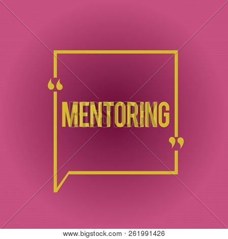 Writing note showing Mentoring. Business photo showcasing To give advice or support to a younger less experienced demonstrating stock photo