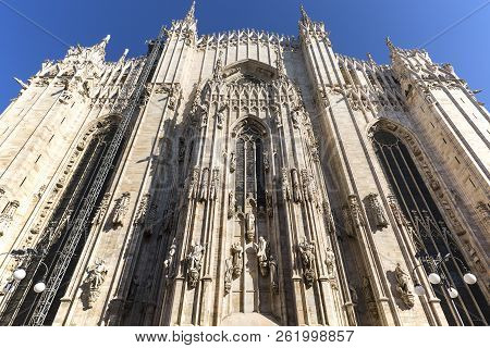 Milan Cathedral (Duomo di Milano), gothic church, Milan, Italy. It is the largest church in Italy and the third largest in the world stock photo