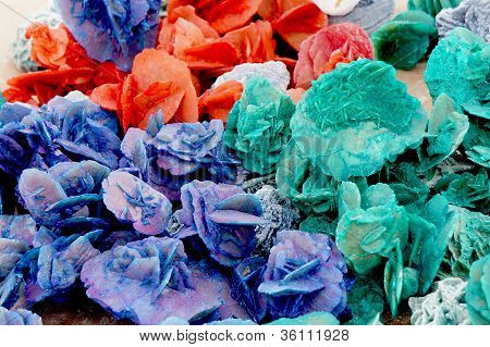 Close up view of colorful desert roses of the Sahara desert stock photo