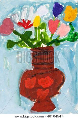 Paiting enfant - fleurs dans un vase en céramique