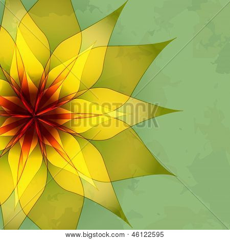 Vintage Abstract Green Background With Flower