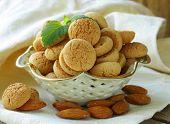 sweet almond treats rolls (amaretti) on the table