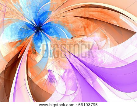 Symmetrical single blue orange fractal flower