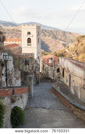 Beautiful Savoca Sicilian city on Ionian coast stock photo