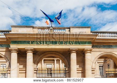 Conseil d'Etat - Council of State building with French flag and Europena Union Flag in Paris France. Council of State is a body of the French national government that acts both as legal adviser of the executive branch and as the supreme court for administ stock photo