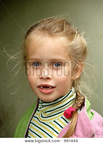 the toothless child girl six years ago portrait stock photo