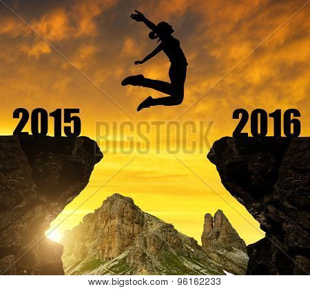 Girl bounced to the New Year 2016
