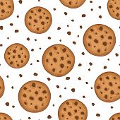 Seamless foundation with treats. Vector outline.