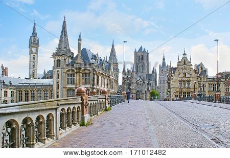 The Sint-Michielsbrug bridge is the nice place to enjoy the landmarks of Ghent such as medieval mansions St Nicholas Church and Belfort van Gent (Belfry) Belgium. stock photo