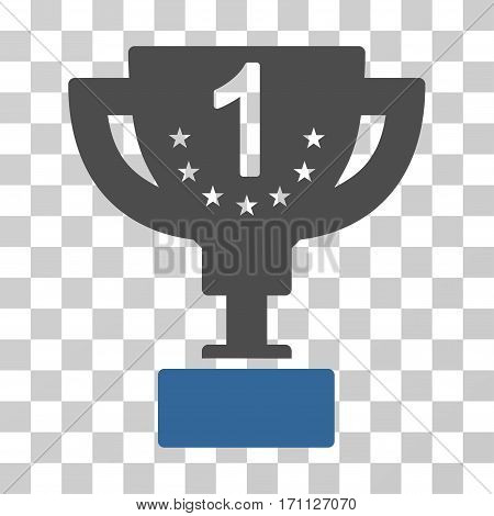First Prize Cup icon. Vector illustration style is flat iconic bicolor symbol cobalt and gray colors transparent background. Designed for web and software interfaces. stock photo