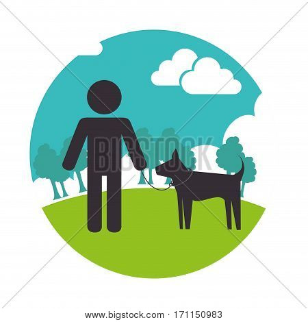 colorful circular landscape with man and dog vector illustration