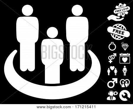 Social Group icon with bonus love icon set. Vector illustration style is flat iconic white symbols on black background.