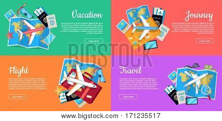 Flight, vacation, journey, travel web banners set. Aircraft, luggage, map, tickets, passport, diving mask, starfish flat vector illustrations For travel agency airline company landing page design