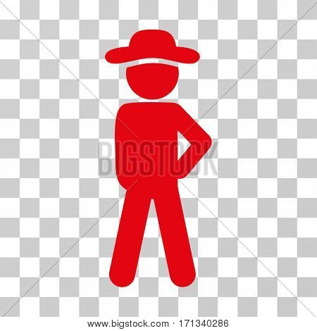 Gentleman Audacity icon. Vector illustration style is flat iconic symbol red color transparent background. Designed for web and software interfaces. stock photo