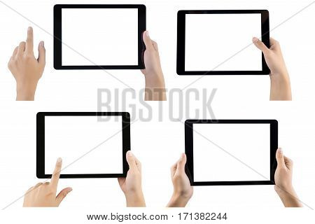 Touch screen tablet computer with hand set isolated. Hands holding tablet set on white background. tablet white screen. black color tablet. hand holding tablet. tablet set. tablet isolated on white.