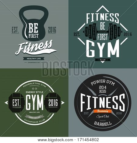 Fitness gym or weight sport center banners with dumbbell and barbell, rod and poise, gymnasium sign. Workout t-shirt prints and urban clothing branding. Sport club or center, sportswear advertising
