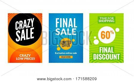 Sale flyers set with discount offer. Season best price poster template. Market banners shopping big discounts. stock photo