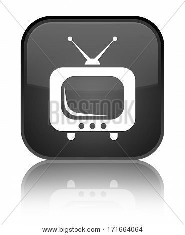 TV icon isolated on special black square button abstract illustration stock photo