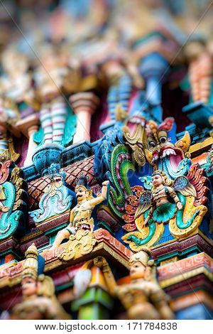 Details of Meenakshi Temple - one of the biggest and oldest temple in Madurai India. stock photo