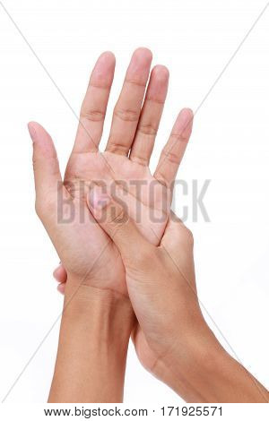 Trigger finger.Woman painful finger due to prolonged use of keyboard and mouse on white background stock photo