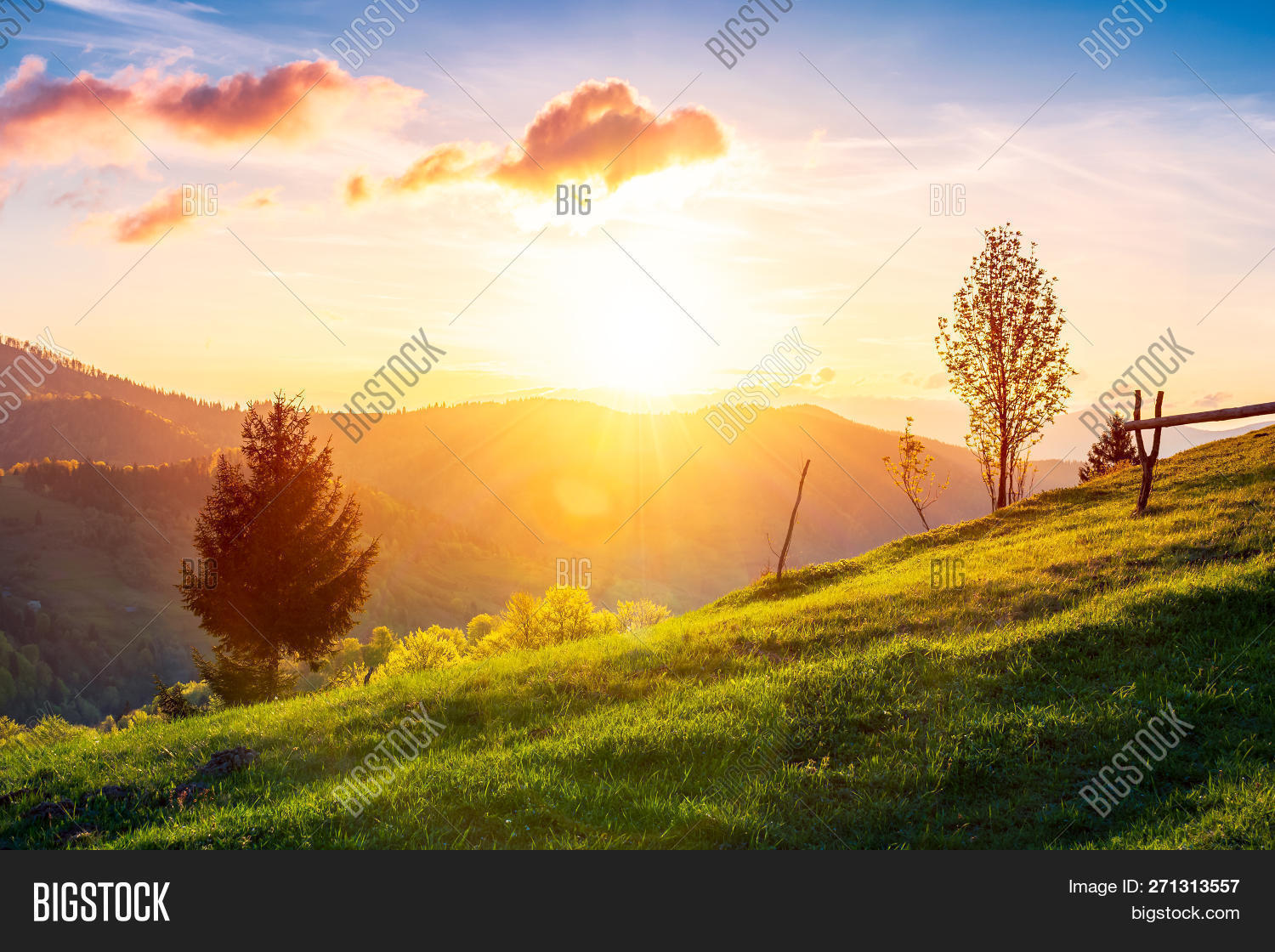Green Wonderland At Purple Sunset Gorgeous Countryside In Mountains Under The Beautiful Sky Wooden Image Stock Photo 271313557