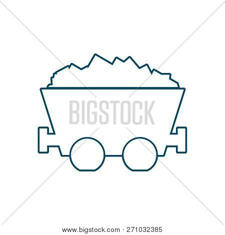 Coal mine wagon. Trolley with coal. Minimal abstract icon in thin line style. stock photo