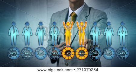 Unrecognizable recruitment professional selecting one male and one female candidate performing at one hundred per cent. Business concept for gender equality, talent acquisition, performance review. stock photo