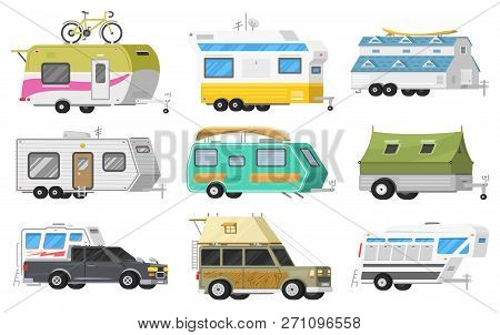 A set of trailers or family RV camping caravan. Tourist bus and tent for outdoor recreation and travel. Mobile home truck. Suv Car Crossover. Tourist transport, road trip, recreational vehicles. stock photo
