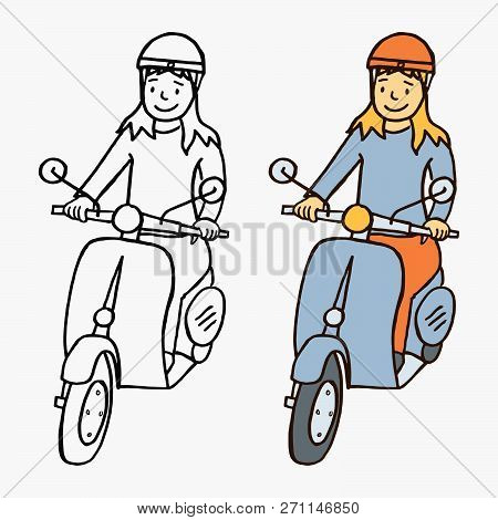 Vector cartoon style illustration of a smiling happy girl driving a vintage italian scooter motorcycle (moped) isolated on white background stock photo