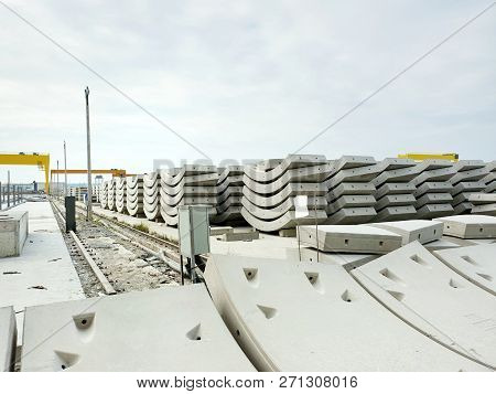 Precast concrete plant with blue sky in the construction site, in storage yard area at Thailand, Space for text in template stock photo