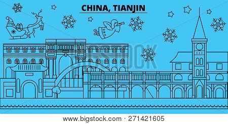 China, Tianjin winter holidays skyline. Merry Christmas, Happy New Year decorated banner with Santa Claus.China, Tianjin linear christmas city vector flat illustration stock photo