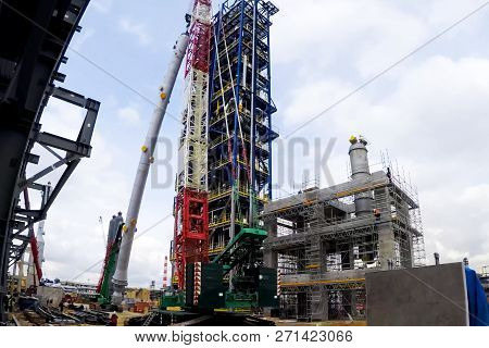 Installation of the reforming column at the Moscow oil refinery stock photo