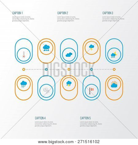 Air icons flat style set with shower, rain-snow, hail and other hailstones elements. Isolated vector illustration air icons. stock photo