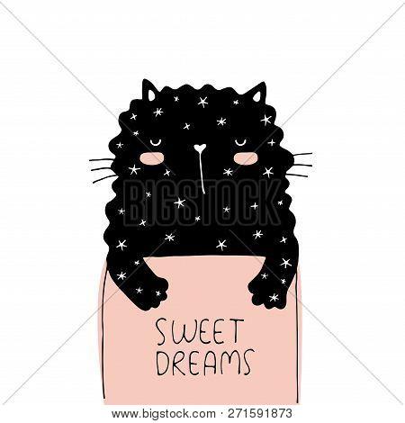 Sweet dreams vector illustration card. Doodle sleeping cat stock photo