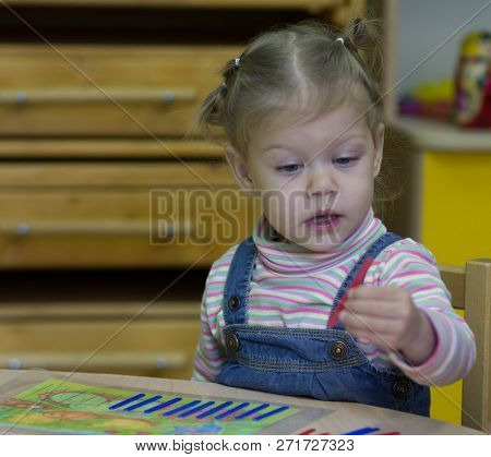 on the arithmetic lesson in the kindergarden stock photo