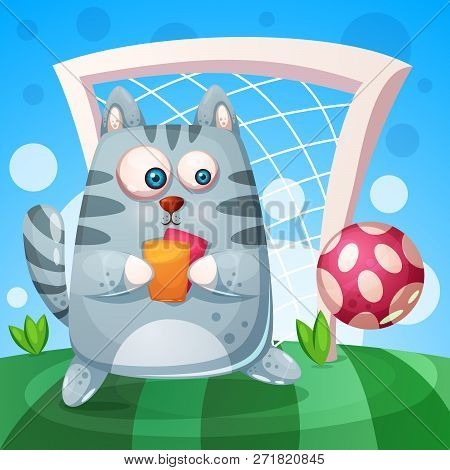 Cute cat with rad, yellow card play football. Vector eps 10 stock photo